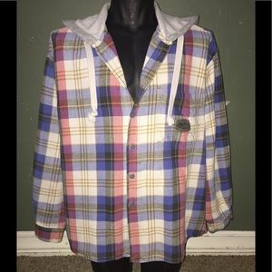 Quicksilver button up plaid hoodie